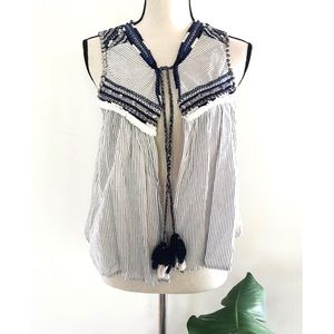 Zara Pinstriped Tassel Beaded Embroderied Vest Top